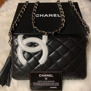 Chanel Cambon Quilted Blk Walket on Chain